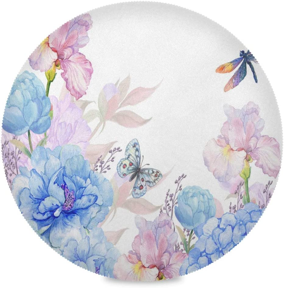 Amazon Com Placemats Watercolor Floral Peonies Hydrangeas Butterflies Dragonflies Round Place Mat Set Of 6 Table Mats 15 4 Inch For Kitchen Dining Table Holiday Party Home Kitchen