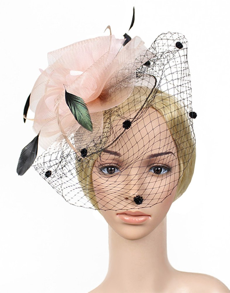 Urban CoCo Women's Bow Feather Net Veil Fascinator Hair Clip Bridal Hat (#3-Nude Pink) by Urban CoCo (Image #3)