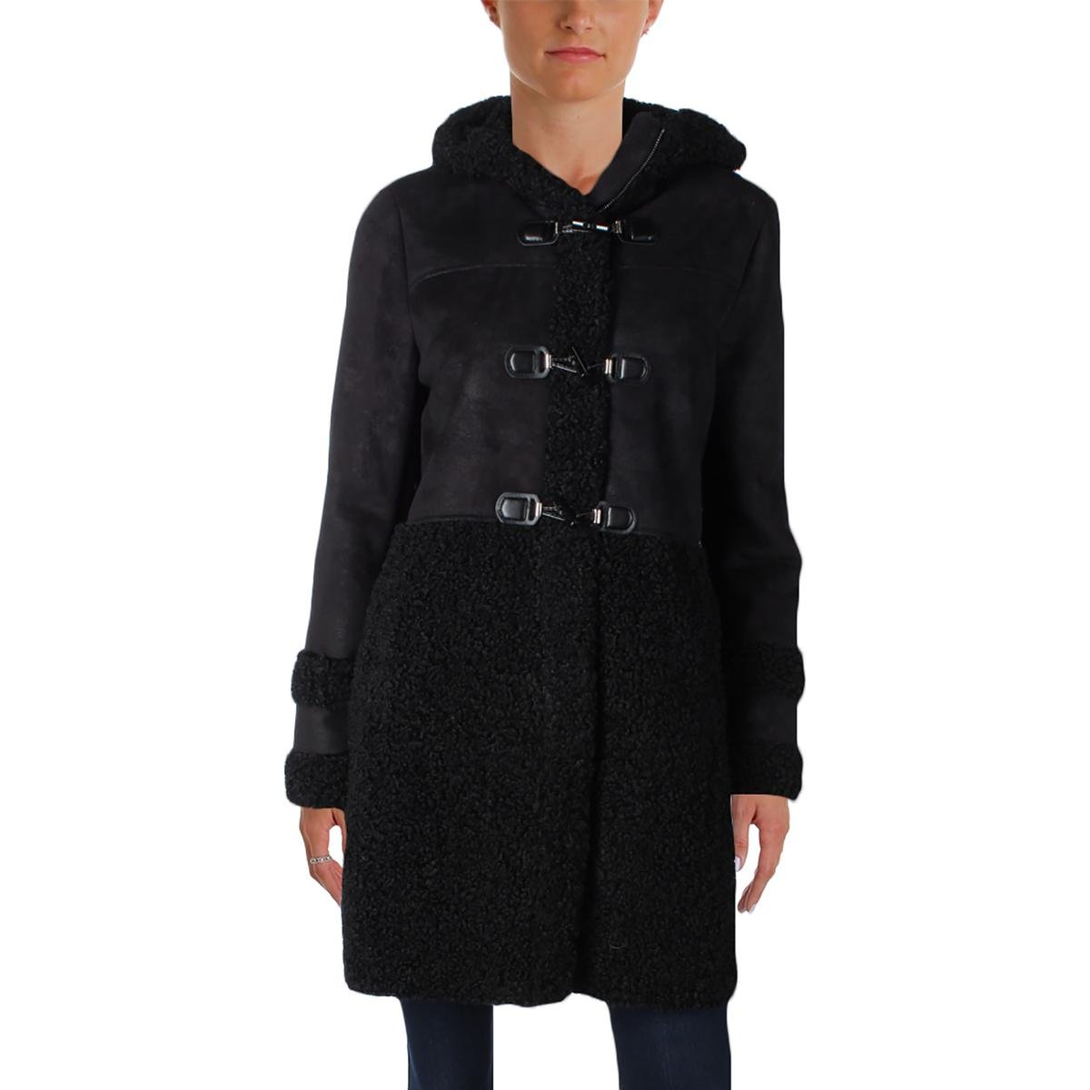 Ivanka Trump Womens Faux Suede Faux Fur Overlay Duffle Coat Black M
