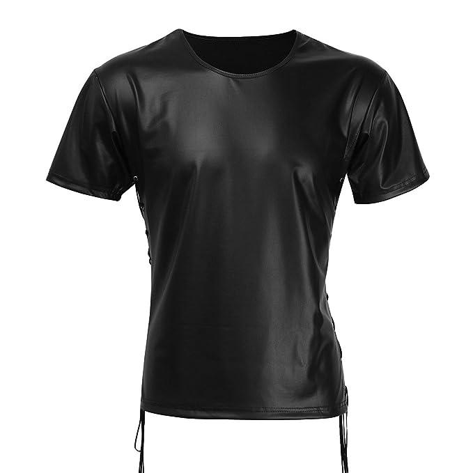 2b79c2c9fe98d8 YiZYiF Stylish Men s Black Wet Look Like Short T-Shirt Undershirt (Small