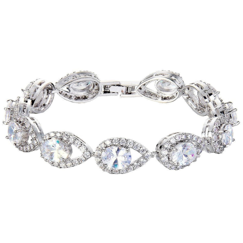EVER FAITH® Silver-Tone Full Cubic Zirconia Hollow-out Tear Drop Wedding Roman Tennis Bracelet Clear