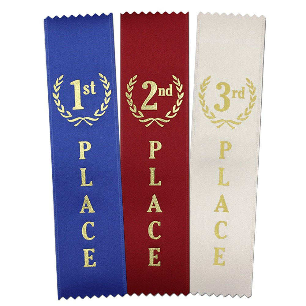 1st - 2nd -3rd Place Quality Award Ribbons 150 Count Value Bundle - 50 Each Blue, Red, White - Made in The USA by RibbonsNow
