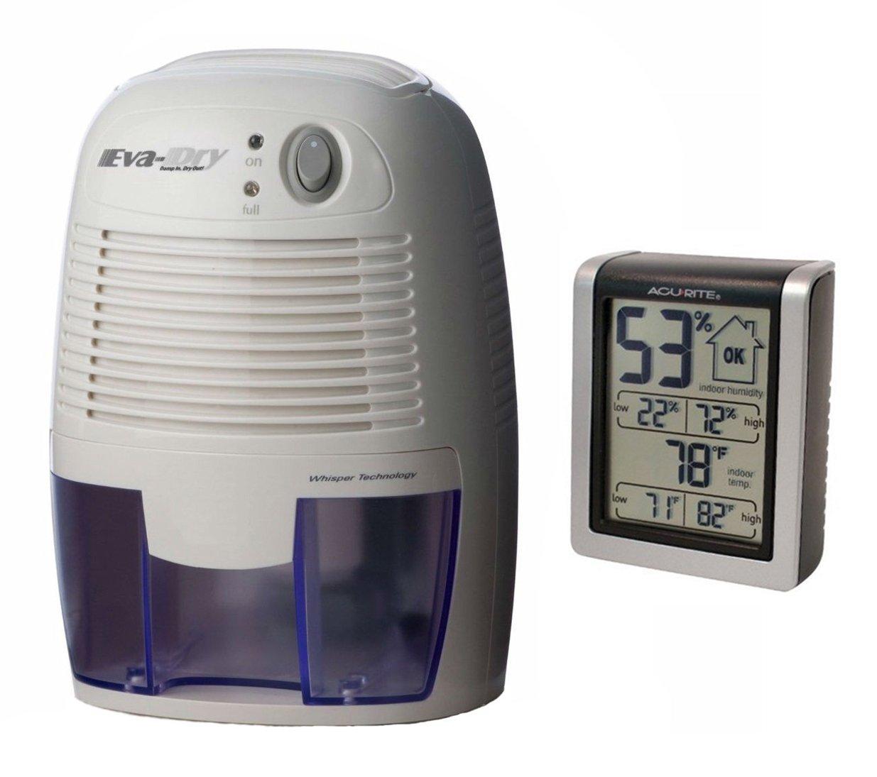 Eva-dry Edv-1100 Electric Petite Dehumidifier + AcuRite 00613 Indoor Humidity Monitor