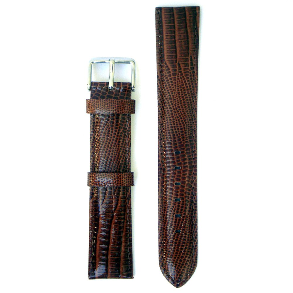 Lizard Embossed XL Long Leather 20 Millimeters Brown Glossy Watch Strap