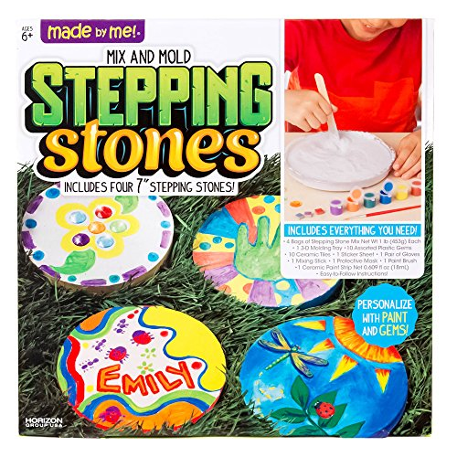 (Made By Me Mix & Mold Your Own Stepping Stones by Horizon Group USA, DIY Craft Kit, Decorative Gemstones, 6 Paint Pots, Paint Brush, Gloves & Sticker Sheet Included,)