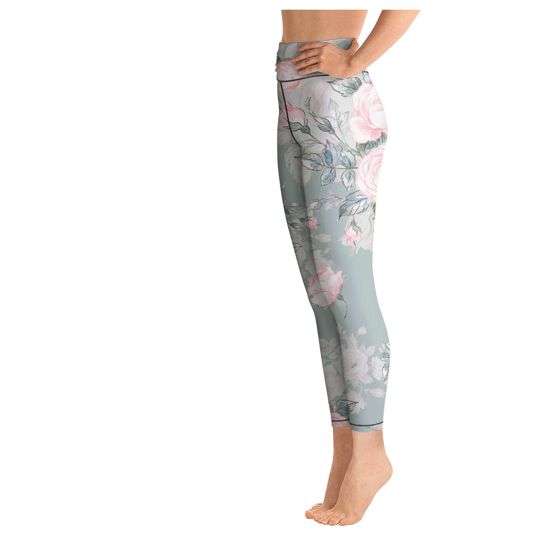 Tropical Leaves Wallpaper Jungle Leaf Gray Women High Waist Yoga Pants Breathable Leggins Funky Leggings