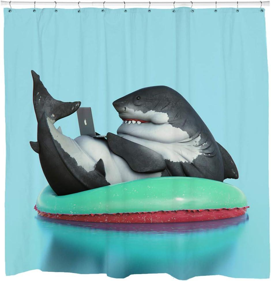 Sharp Shirter Funny Shark Shower Curtain Set Video Game Bathroom Decor Geeky Gift 71x74 Blue Fabric Hooks Included