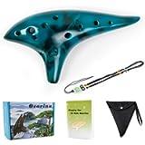 Ocarina 12 Tones Alto C with Song Book Carry bag Neck String Neck Cord (Blue)