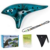 Ocarina 12 Tones Alto C with Song Book Neck String Neck Cord Carry bag for students beginners (Blue)