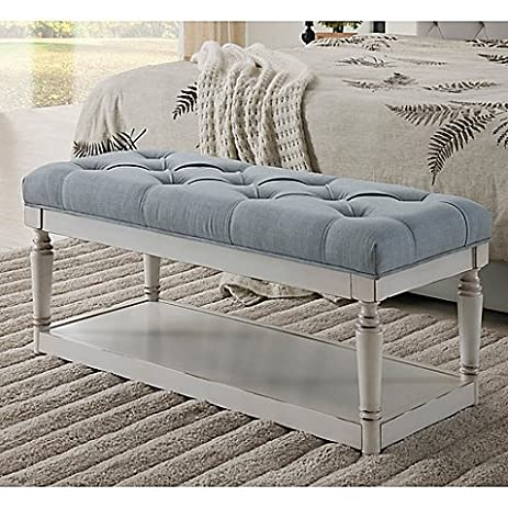 Legacy Home Fashion Linen Storage Bench In Blue