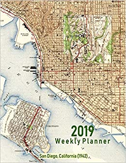 2019 Weekly Planner San Diego California 1942 Vintage Topo Map