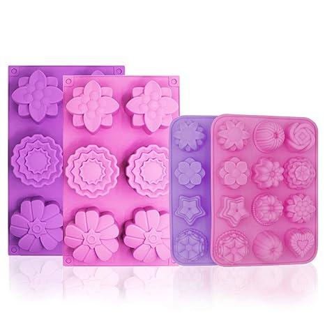 Molde de silicona para tartas, diseño de flores, 36 patrones, antiadherente, molde