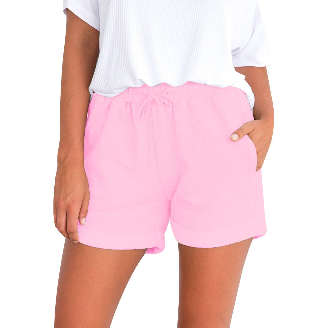 XWDA Womens Lace up High Waist Pocket Ladies Summer Beach Hot Pants Shorts for Holiday