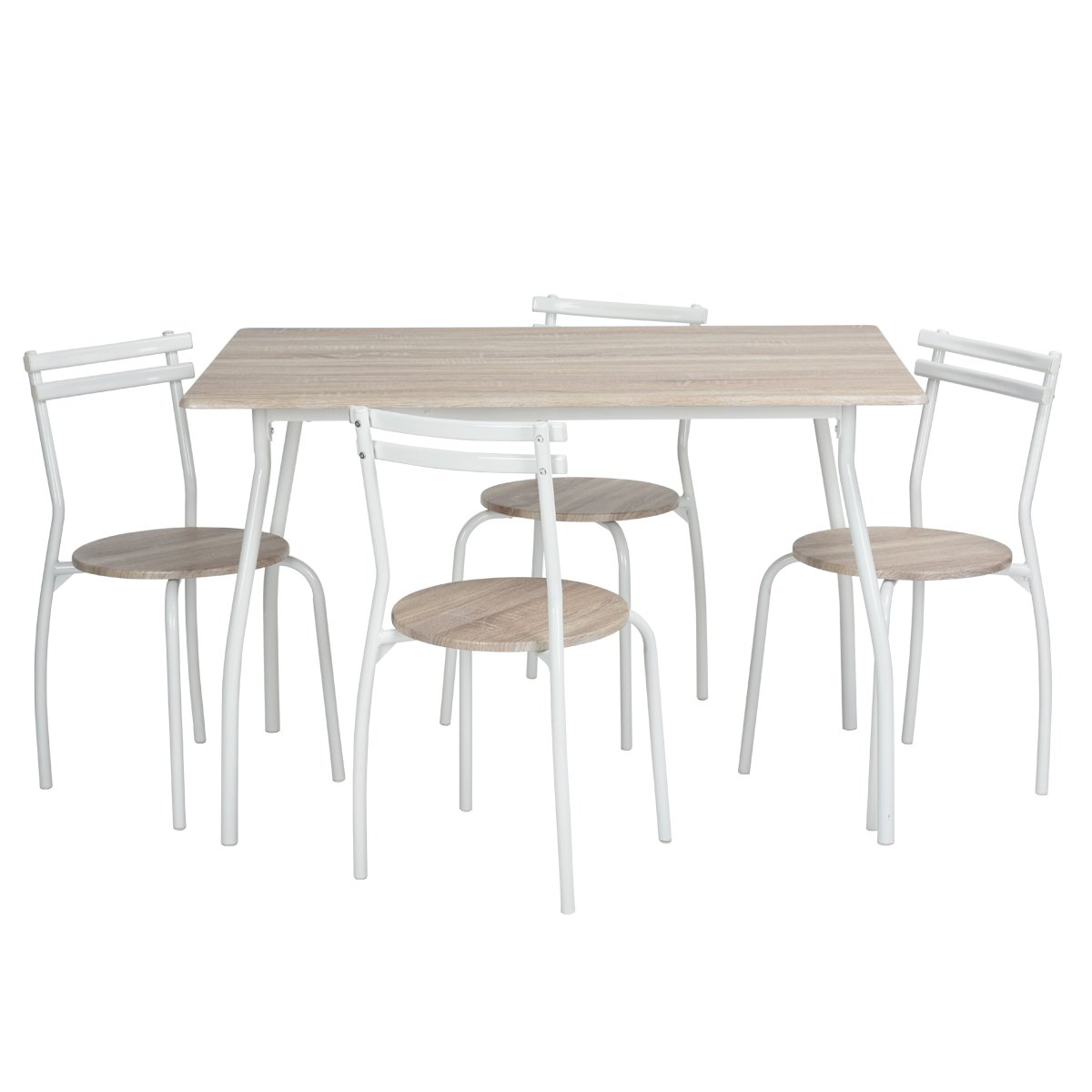 HouseinBox 5pcs Dining Room Set Table Kitchen Furniture Rectangle Table Curved Metal Legs Bottle Round Seat, Beech
