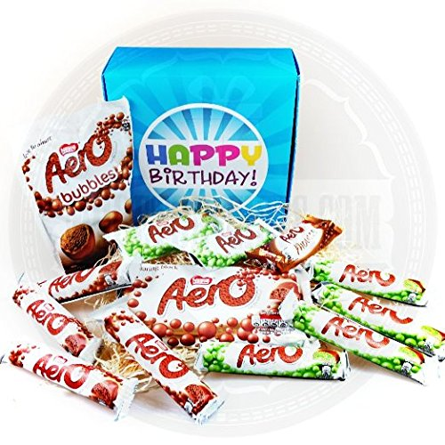 (The Ultimate Aero Chocolate Lovers Happy Birthday Gift Box - By Moreton Gifts - Aero Share Bar, Pouch, Bubbles, Mint)