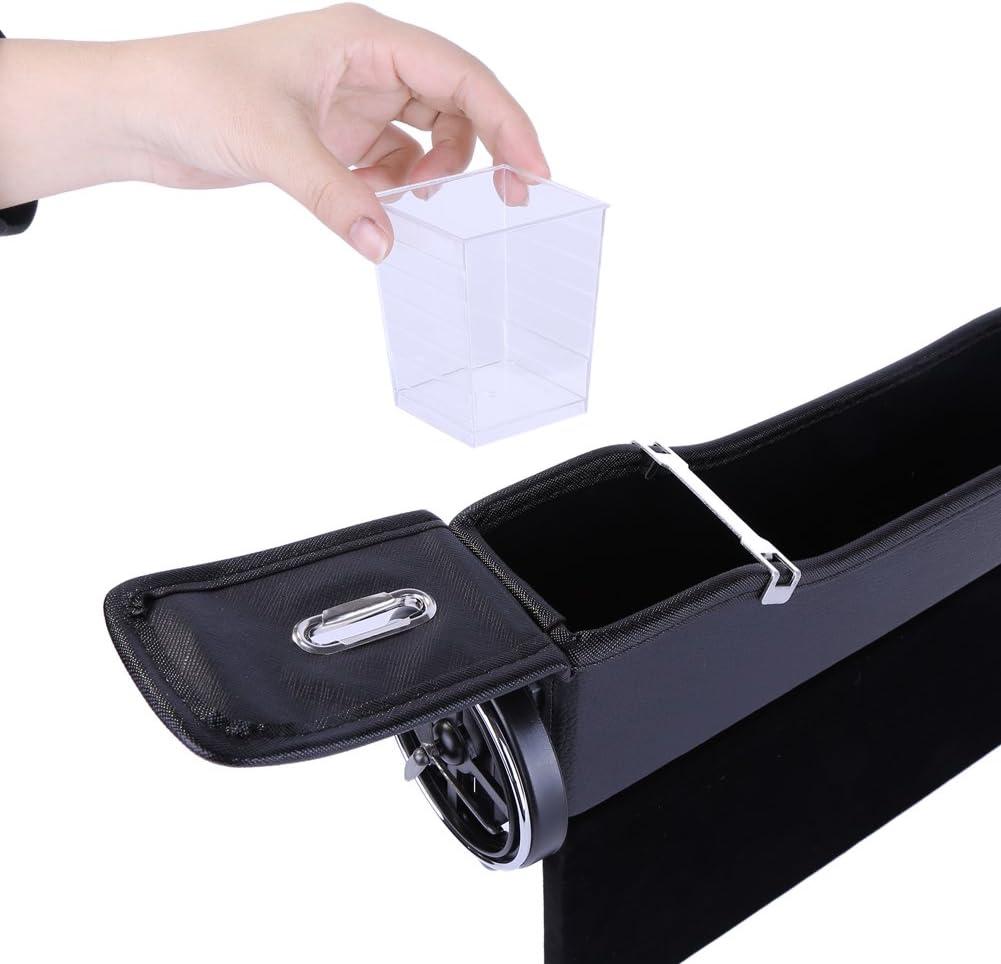 Autositz Organizer Auto Right Seat Gap Aufbewahrungsbox Organizer Konsole Seitentasche Ledersitz Spalt Aufbewahrungsbox F/ür Brieftasche Telefon M/ünzen Zigarettenschl/üssel Karten Tassen Beige,Links