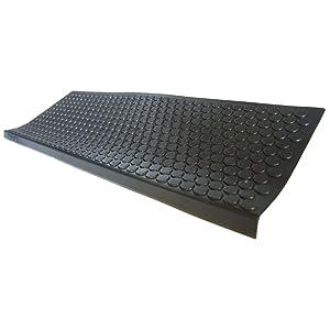 "Rubber-Cal ""Coin-Grip Non-Slip Rubber Tread Stair Mats (6 Pack), Black"