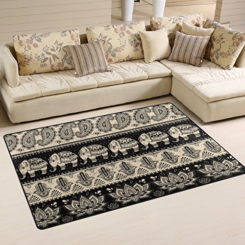 Naanle Vintage Floral Paisley Lotus Area Rug 3'x5', Tribal Ethnic Elephant Polyester Area Rug Mat for Living Dining Dorm Room Bedroom Home Decorative