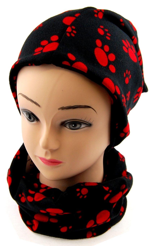 NB24 Versand Set Loop Schal + Mütze, (59) schwarz mit roten Pfötchen Tatzen Animal Print, Mütze Schal für Damen Nails-Beauty24