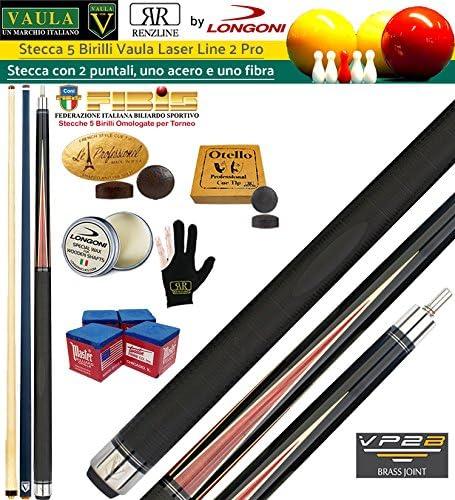 Longoni Vaula Laser 2 Pro Taco 2pz. cm. 141,5 Longoni, doble punta, una en madera de arce y Shadow de fibra de carbono, mm.12. Disciplina 5 bolos billar internacional. de recambio, accesorios