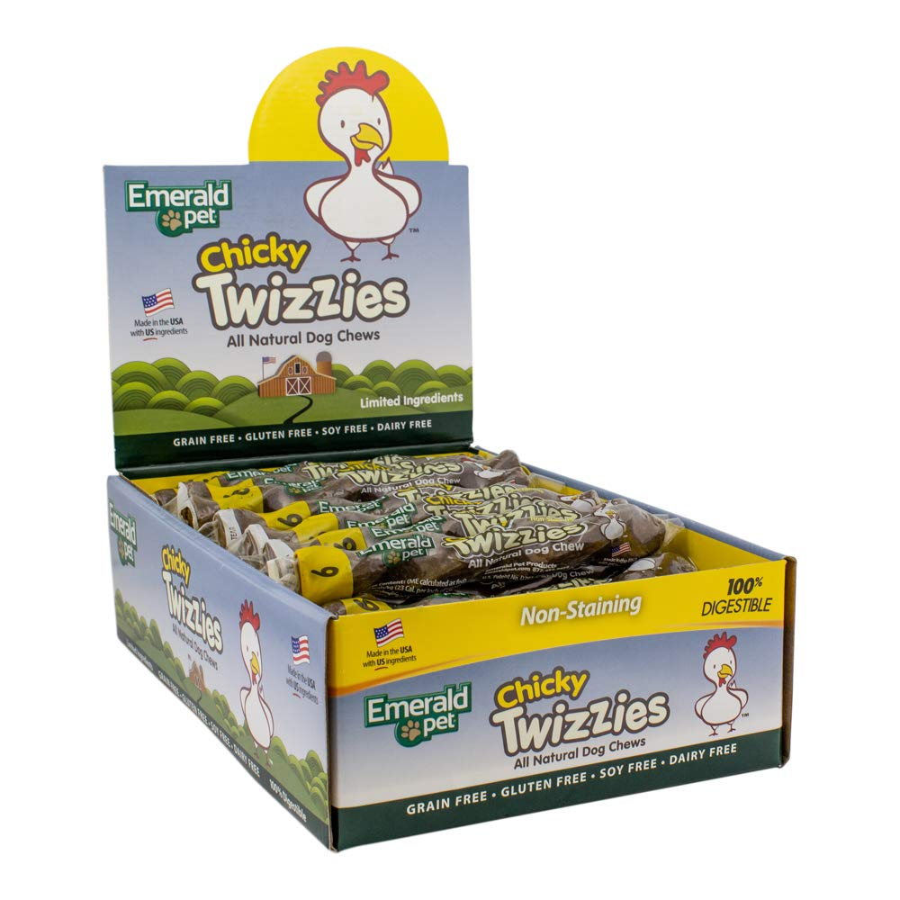 Emerald Pet - Chicky Twizzies, All Natural, Grain Free, Gluten Free, Soy Free, Dairy Free, Allergy Friendly, 100% Digestible, No Mess, Long Lasting Chew for Your Canine (Size 6, 30Ct)