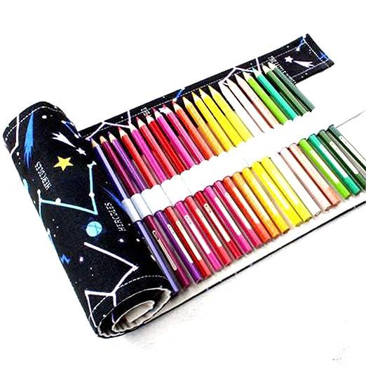 Yzki - Estuche Enrollable de Lona para lápices, 36 agujeros/48 agujeros/72 Agujeros con diseño de Cielo Estrellado, Negro, 36 Holes: Amazon.es: Hogar