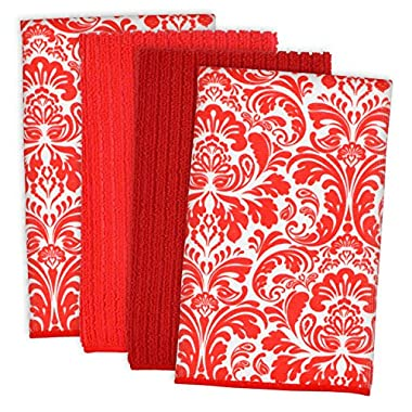 DII Cleaning, Washing, Drying, Ultra Absorbent, Microfiber Damask Dishtowel 16x19  (Set of 4) - Red