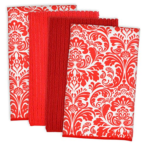 DII Microfiber Multi-Purpose Cleaning Towels Perfect for Kitchens, Dishes, Car, Dusting, Drying Rags, 16 x 19, Set of 4 - Red Damask
