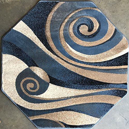 Sculpture Modern Octagon Area Rug Contemporary Blue Design 258 (7 Feet 3 Inch X 7 Feet 3 Inch Octagon)