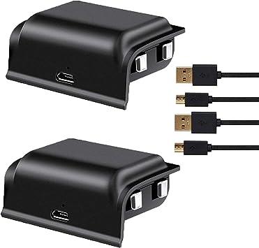 Paquete de 2 baterías Recargables TGJOR de 1200 mAh para Xbox One, con Cables de Carga