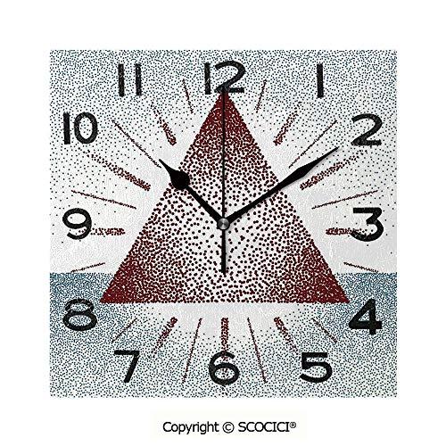 (SCOCICI Print Square Wall Clock, 8 Inch Triangle Form with Dots Retro Pyramid Spiritual Artsy Graphic Quiet Desk Clock for Home,Office,School )