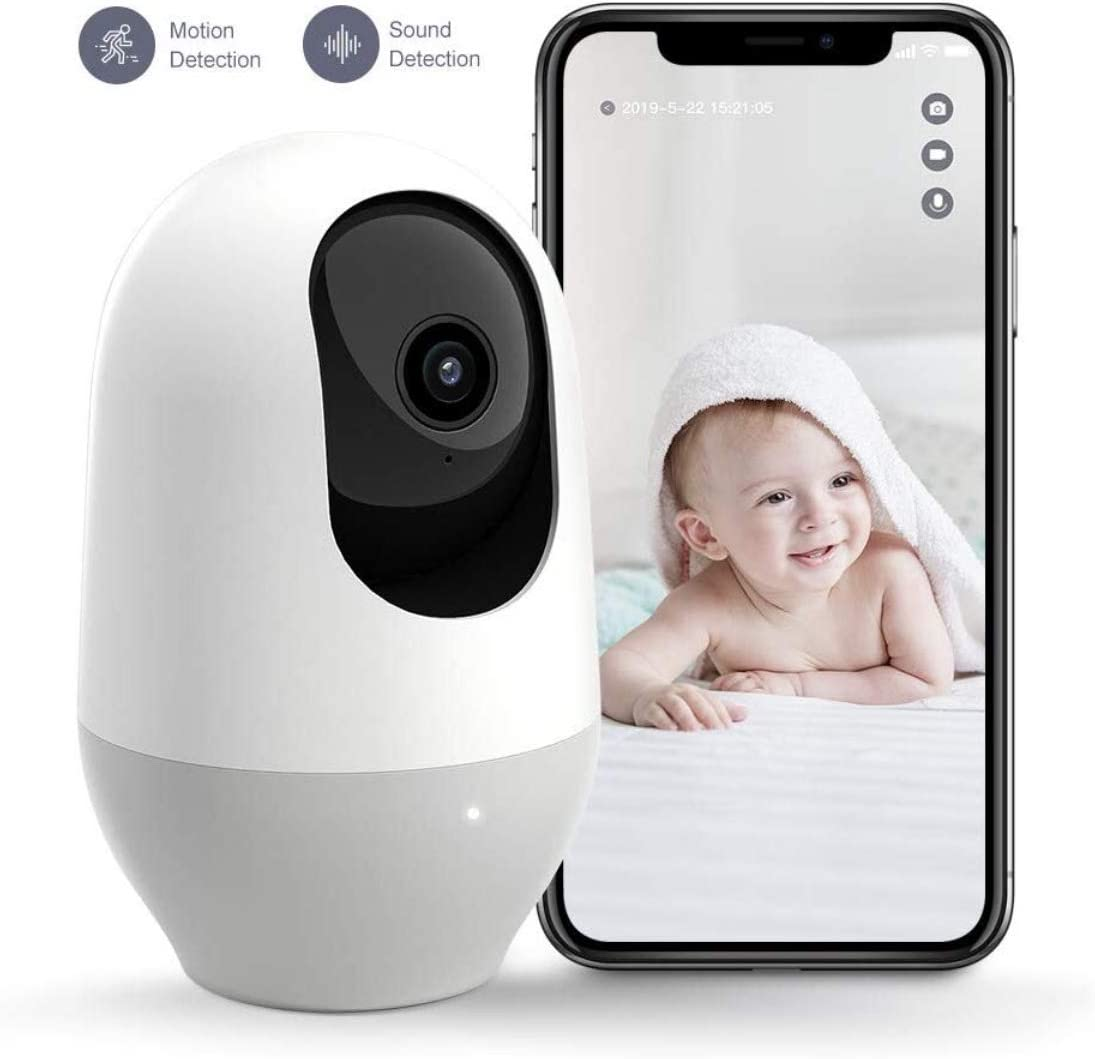 Nooie Baby Monitor, WiFi Pet Camera Indoor, 360-degree Wireless IP Nanny Camera, 1080P Home Security Camera, Motion Tracking, IR Night Vision, Works with Alexa, Two-Way Audio, Motion & Sound Detection