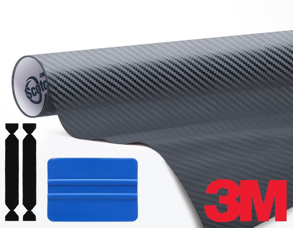 VViViD 3M Anthracite Carbon Fibre Vinyl Film Roll Complete Wrap Toolkit Including 1x Blue Squeegee & 2X Protective Felt Edge Decals (6ft X 5ft)