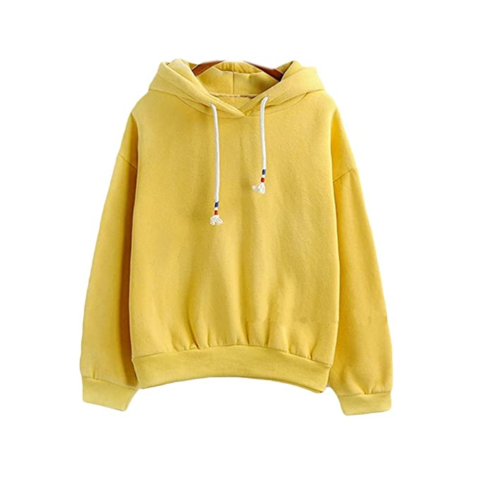 Harajuku Pastel Yellow Candy Color Hoodies Sweatshirts for Womens at Amazon Womens Clothing store: