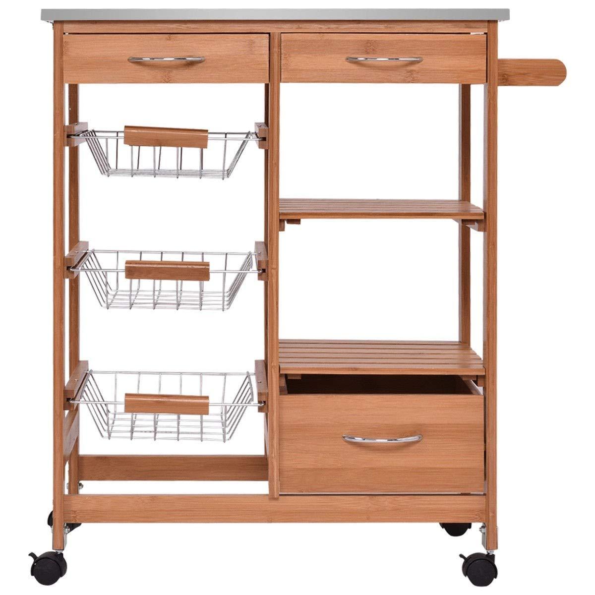 Amazon Com Zwan Bamboo Kitchen Island Trolley Cart Storage