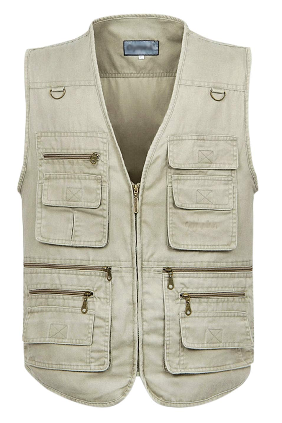 Gihuo Men's Casual Outdoor Work Pockets Fishing Photo Journalist Denim Vest (XXX-Large, Beige) by Gihuo