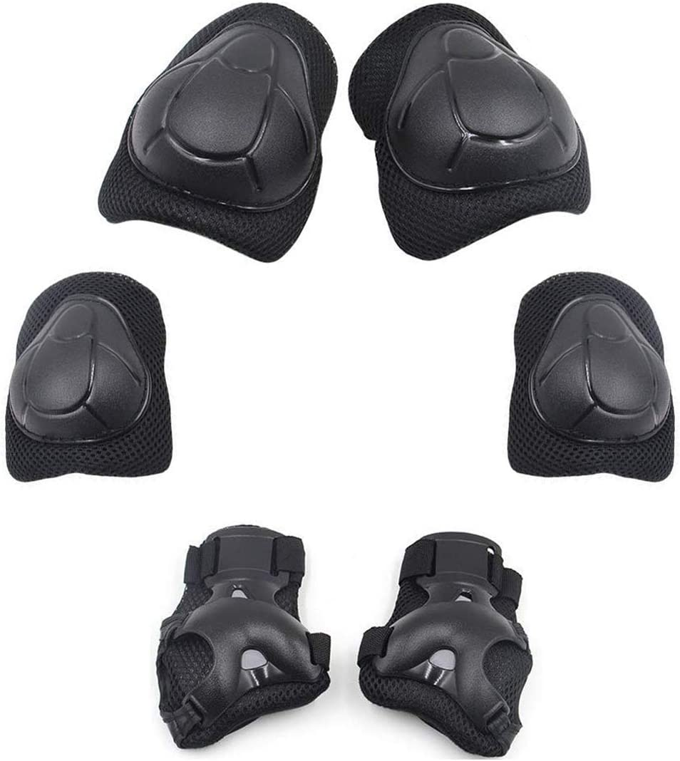 Child Knee Pads Adjustable Black Wrist Guards 6 in 1 Kit Protective Gear Elbow for Outgoing