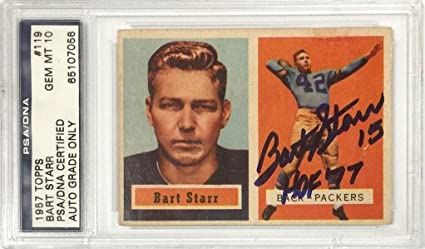 Bart Starr Hof 77 Signed 1957 Topps Rookie Card Rc 119