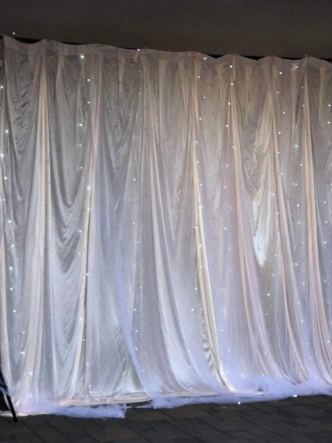 13' Wide x 10' high Indoor Gauze Romantic LED Lights with Double Layers Party Backdrop Window Curtain
