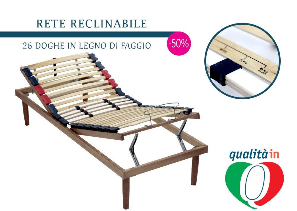 InMaterassi Rete singola reclinabile Queen dotata di una solida struttura in legno di faggio, caratterizzata da stabilità e robustezza, versatilità e il comfort di una rete reclinabile.