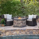 Cheap Augusta Patio Furniture ~ 3 Piece Outdoor Wicker Swivel Rocker and Propane (Gas) Fire Table (Pit) Set