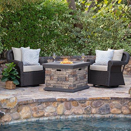 Cheap Augusta Patio Furniture ~ 3 Piece Outdoor Wicker Swivel Rocker and Propane (Gas) Fire Table (Pit) Set
