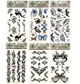 6 Sheets Fashion Body Art Stickers Removable Waterproof Temporary Tattoo - Beautiful Tattoo Flash Patten Type: Fairy, Butterfly, Stars, Totem etc-Black Temporary Bling Tattoo from Rainbow-Lee