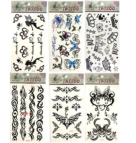 [6 Sheets Fashion Body Art Stickers Removable Waterproof Temporary Tattoo - Beautiful Tattoo Flash Patten Type: Fairy, Butterfly, Stars, Totem etc-Black Temporary Bling] (Fairy Wing Tattoos)