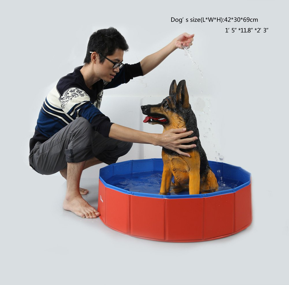 Fuloon Foldable Dog Paddling Pool Puppy Cats Swimming Bathing Tub Pet Children Kid Ball Water Ponds by Fuloon (Image #8)