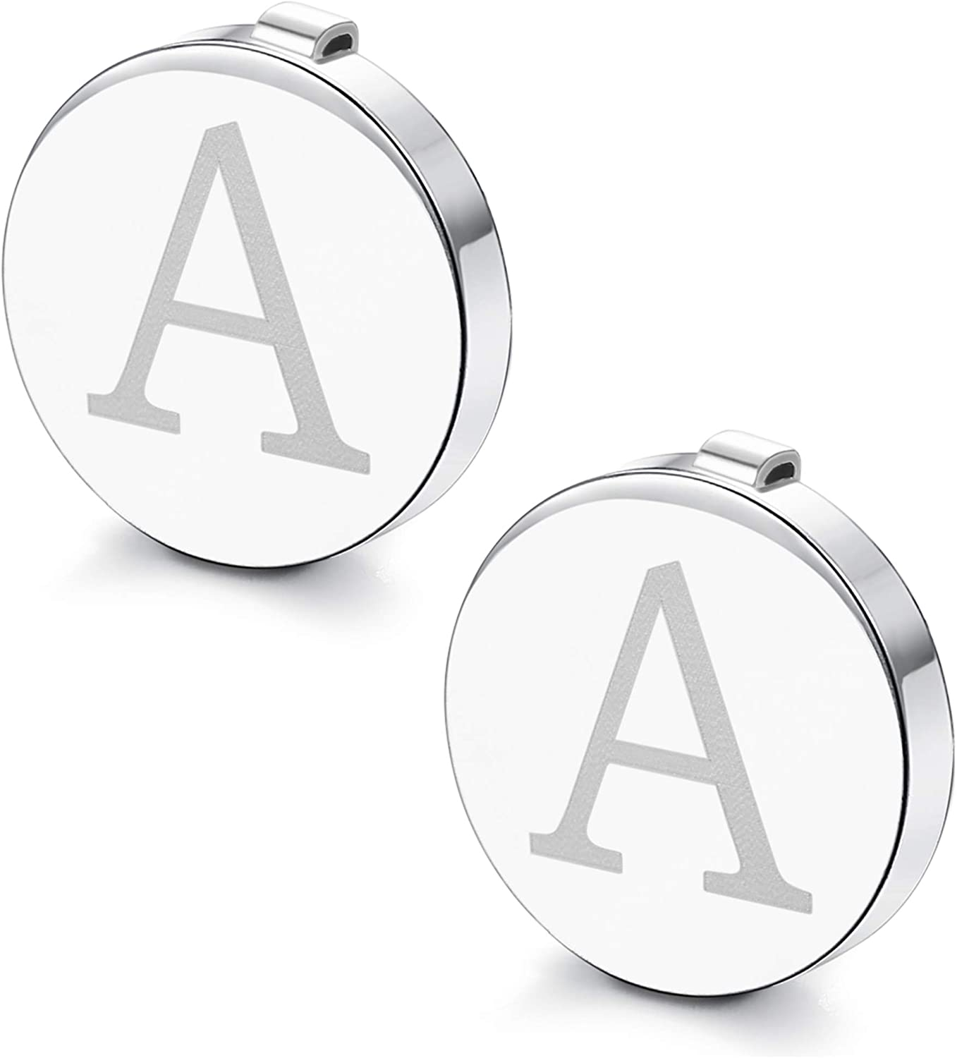 Fiasaso A-Z Letter Button Cuff Links for Men Initial Alphabet Cover Cufflinks