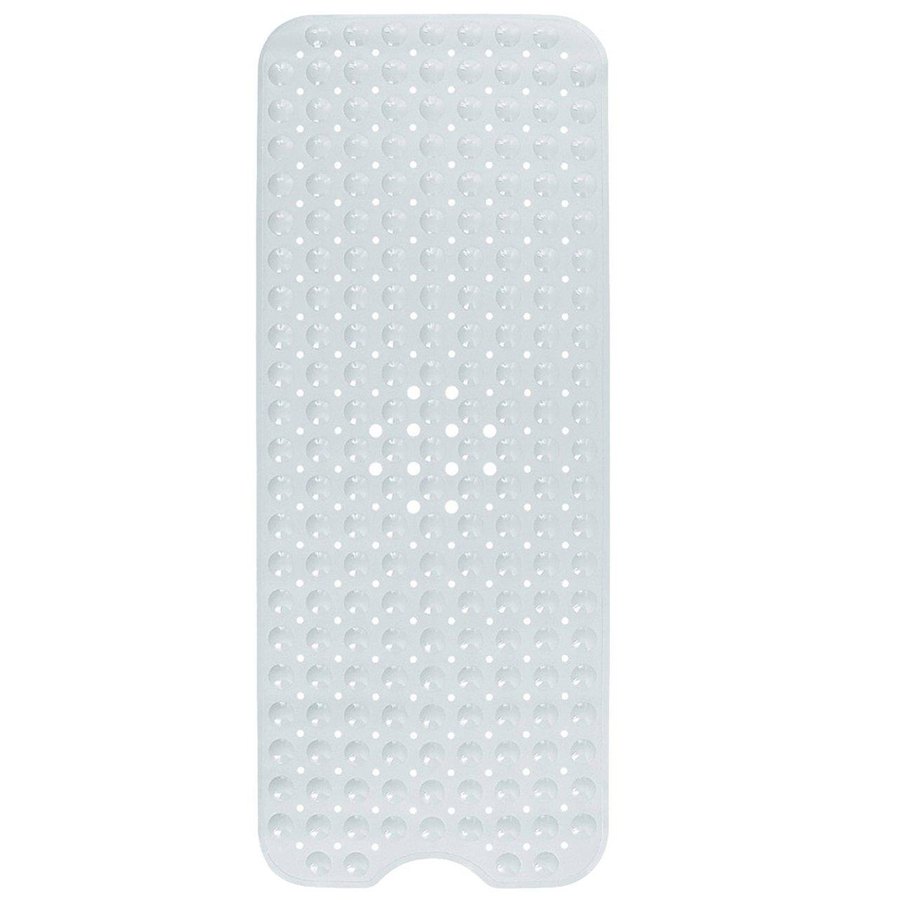 LIVINGbasics Anti-Bacterial Anti-Slip-Resistant Bath Mat, 16 W x 39 L, Extra Long (White) 16 W x 39 L