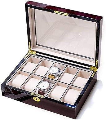 Organizador de Caja de Reloj for Hombres Estuche Organizador de Reloj de Madera con Cerradura de Llave Estuche de exhibición de diseño de Soporte Grande (Color : B): Amazon.es: Relojes