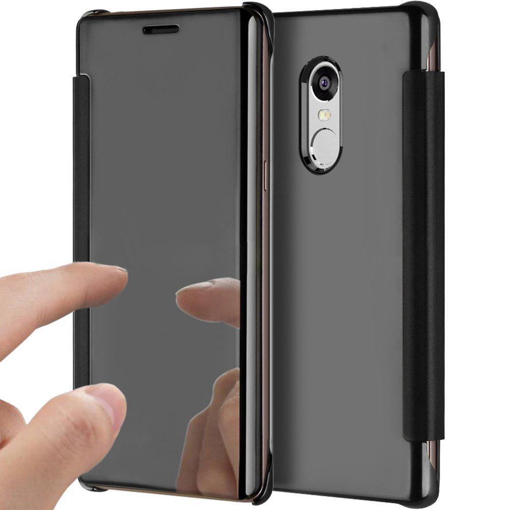 PHEZEN Xiaomi Redmi Note 4 Case, Luxury Mirror Makeup Case Plating PU Leather Flip Protective Cover [Kickstand Feature] Magnetic Closure Full Cover Case for Xiaomi Redmi Note 4 (Black)