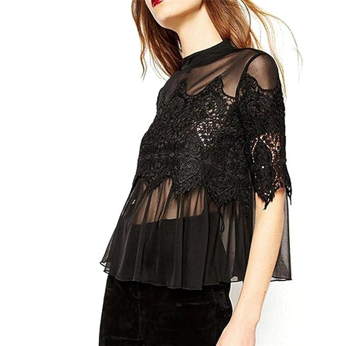 717e219eb1f65a Amazon.com: Chiffon Women Blouses Designer HN Lace Shirts Casual Gap:  Sports & Outdoors